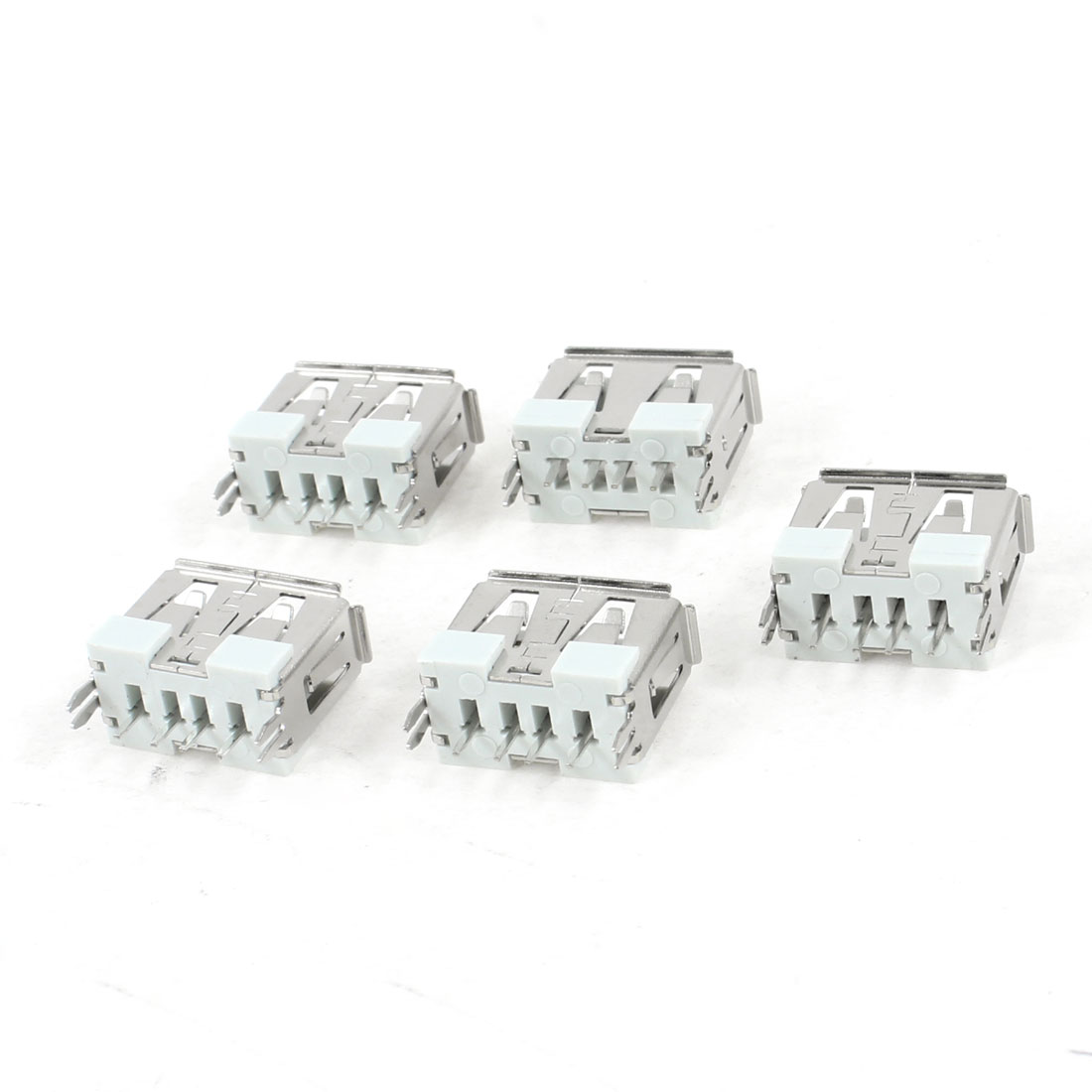 5 Pcs Single USB 2.0 Type A 180 Degree 4-Pin DIP Female Jack Socket