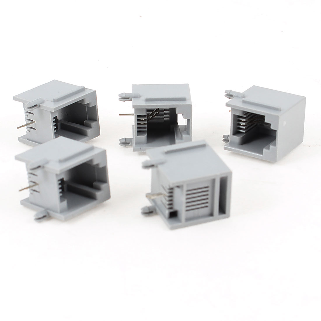 5 Pcs Unshielded RJ11 6P2C Network Modular PCB Jacks Single Port Gray