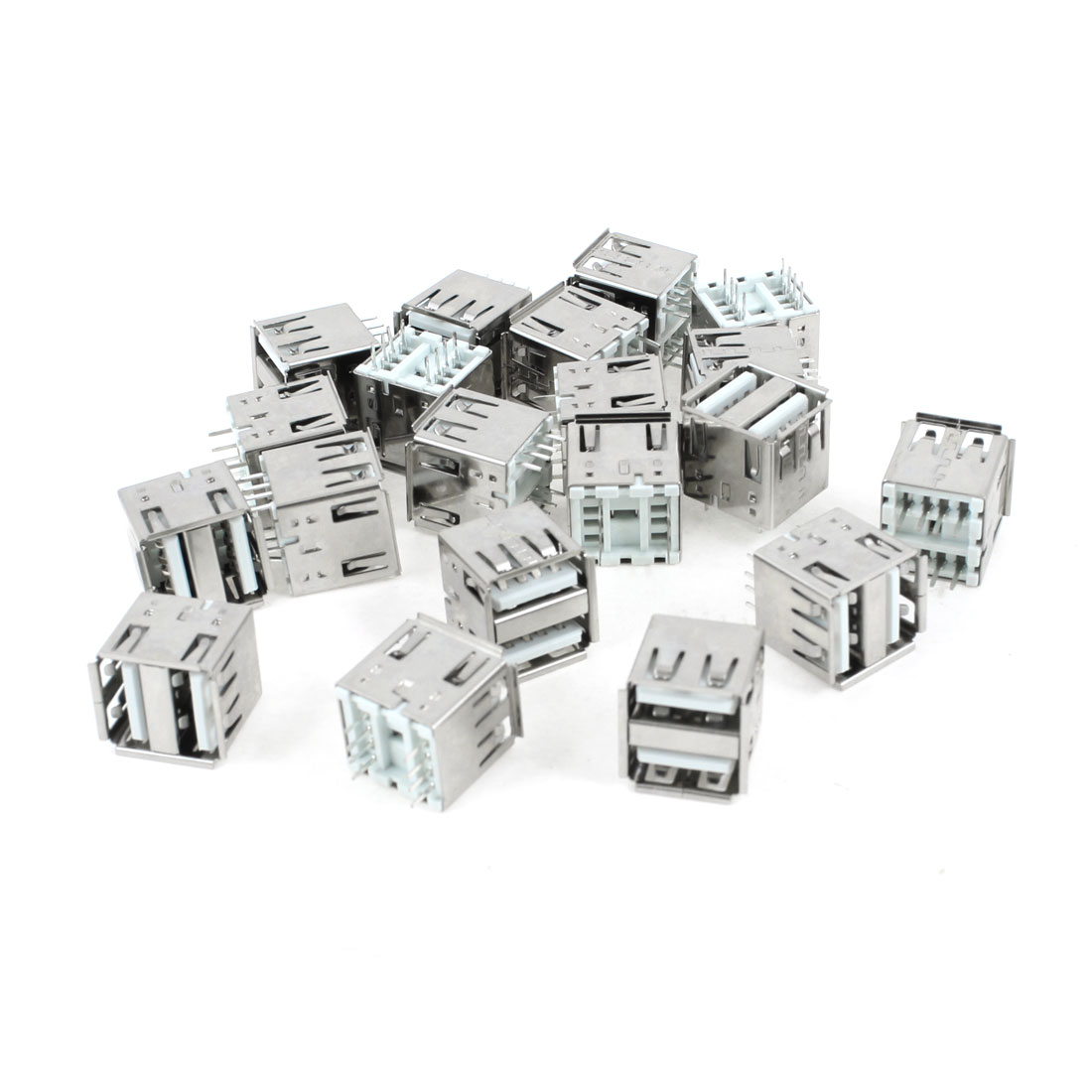 20 Pcs Double Layer USB Type A 180 Degree DIP 8-Pin Female Jack Connector