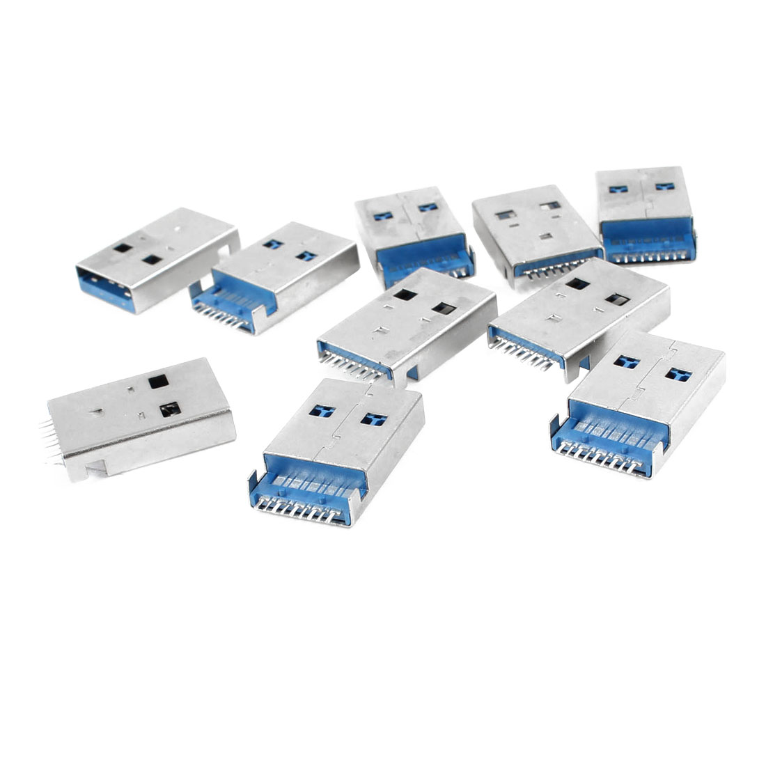 10 Pcs Shielded 180 Degree 9 Pin USB 3.0 Type A Male Jack Plug