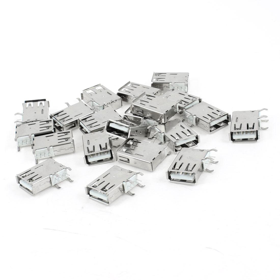 20 Pcs USB 2.0 Type A Female Side DIP 90 Degree 4-Pin Jack Socket