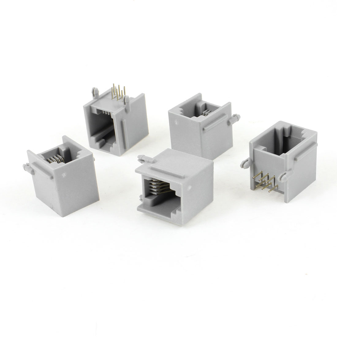 5 Pcs Gray Plastic Unshielded RJ12 6P6C Network Modular PCB Connector Jacks