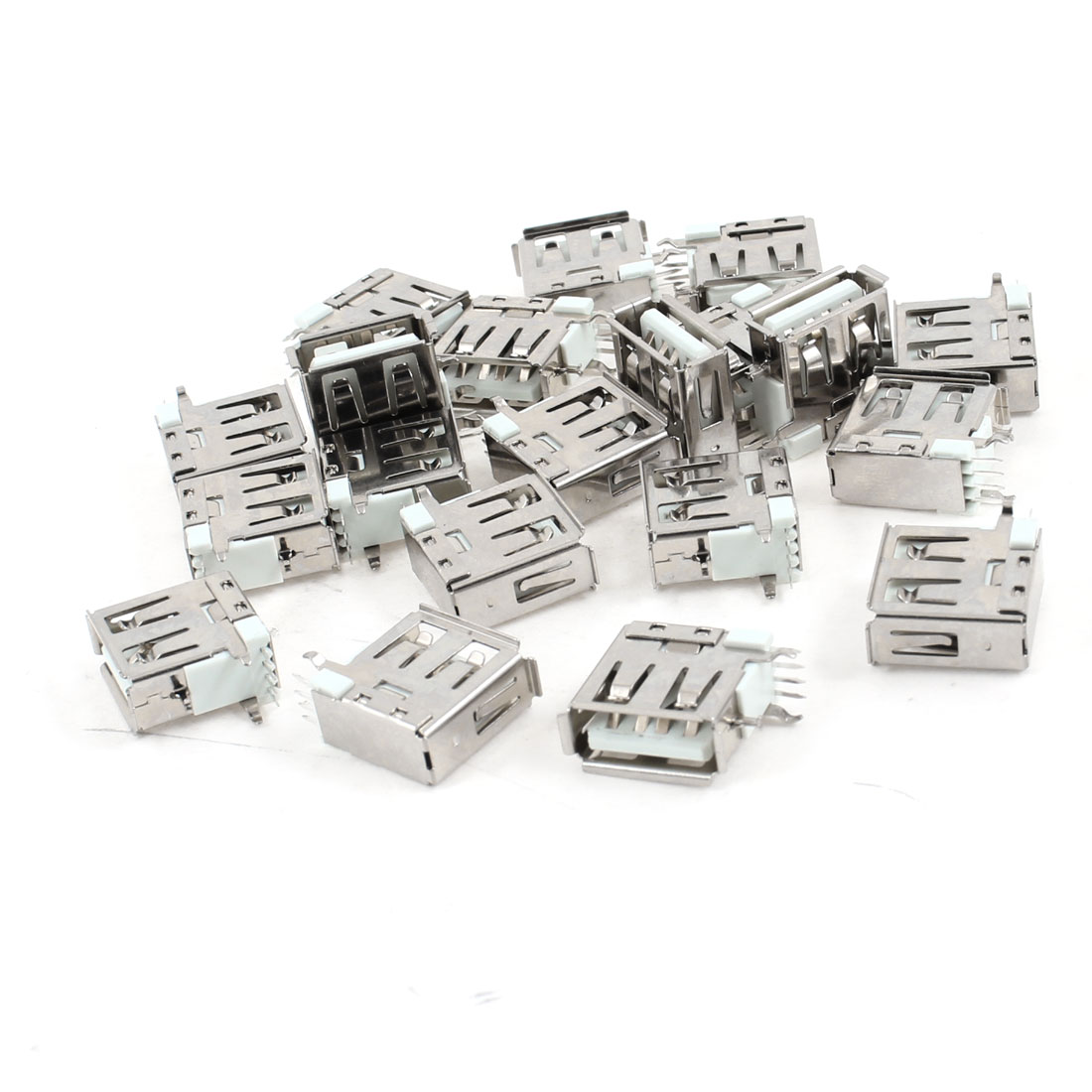 20 Pcs USB 2.0 Type A Female Side DIP Right Angle 4-Pin Jack Socket