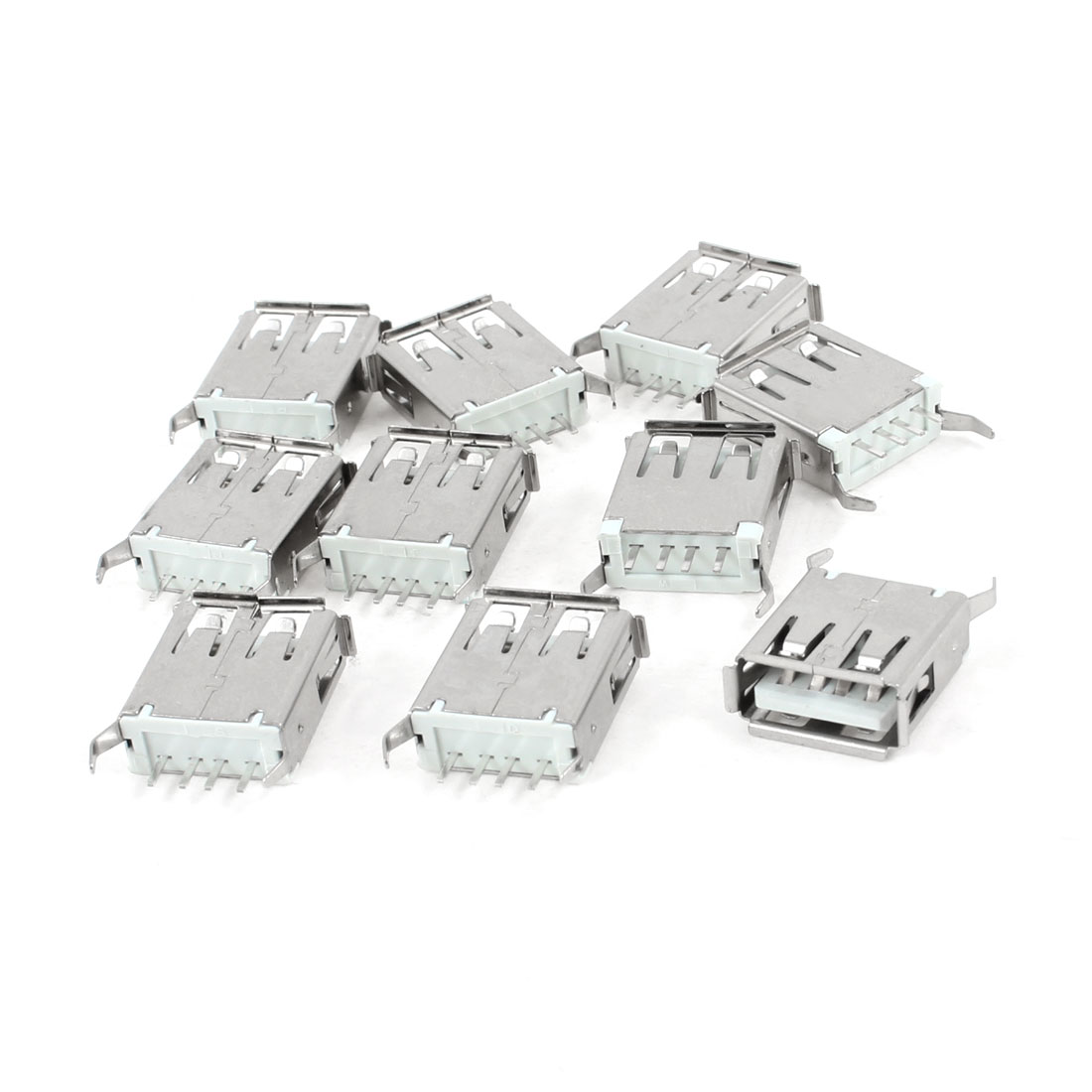 10 Pcs Single USB 2.0 Type A 180 Degree 4-Pin DIP Female Jack Socket