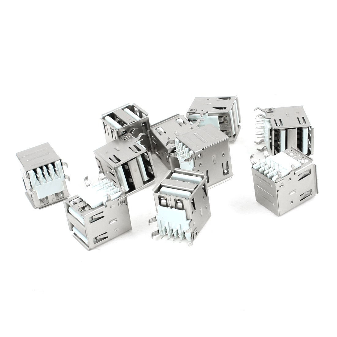 10 Pcs Dual USB Type A Right Angle DIP 8-Pin Female Jack Socket Connector