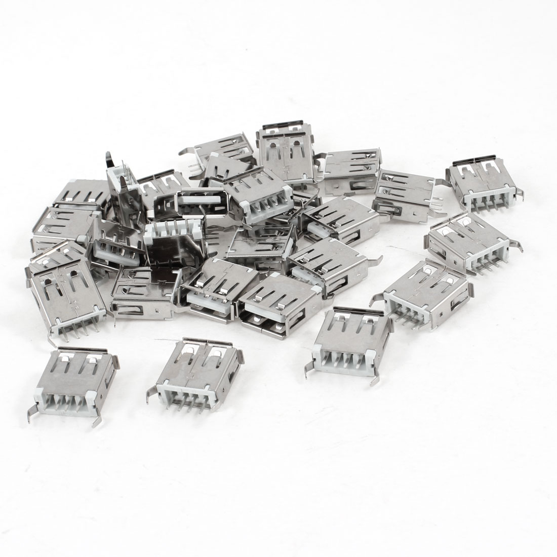 30 Pcs USB 2.0 Type A 180 Degree 4-Pin DIP Female Jack Connector