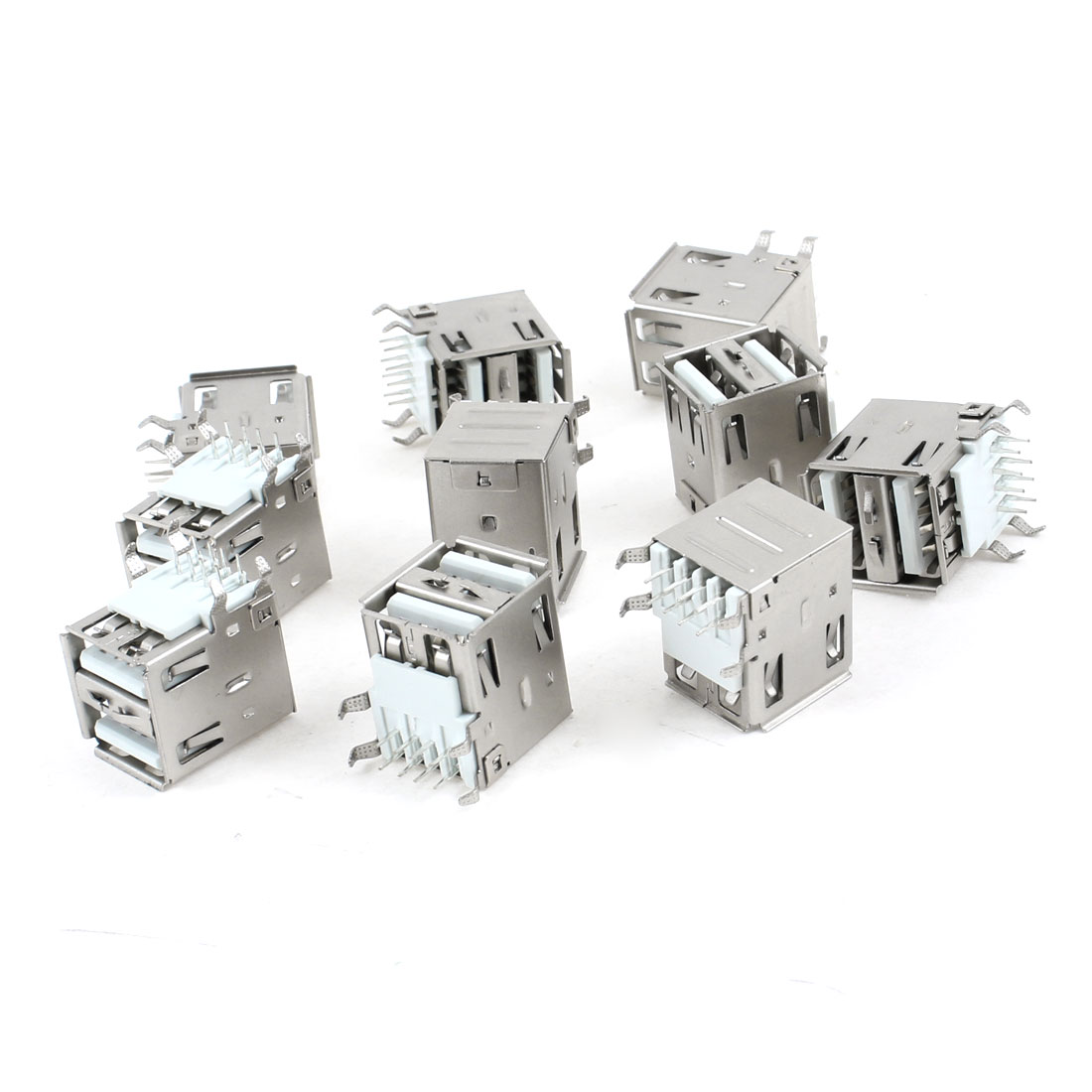 10 Pcs Double Layer USB Type A Right Angle DIP 8-Pin Female Jack Socket