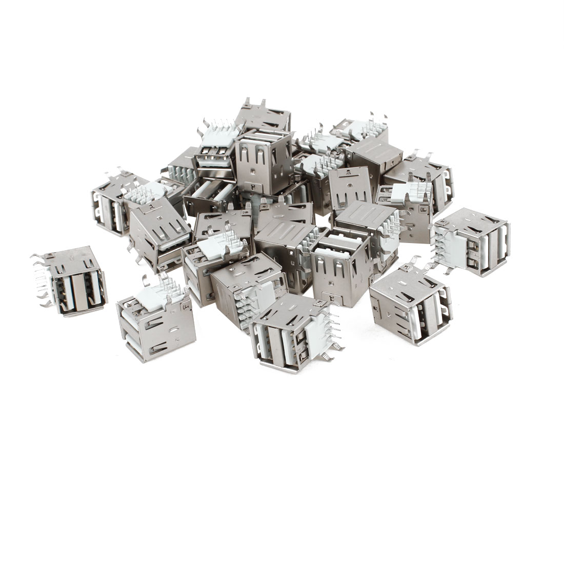 30 Pcs Dual USB Type A Right Angle DIP 8-Pin Female Jack Socket Connector