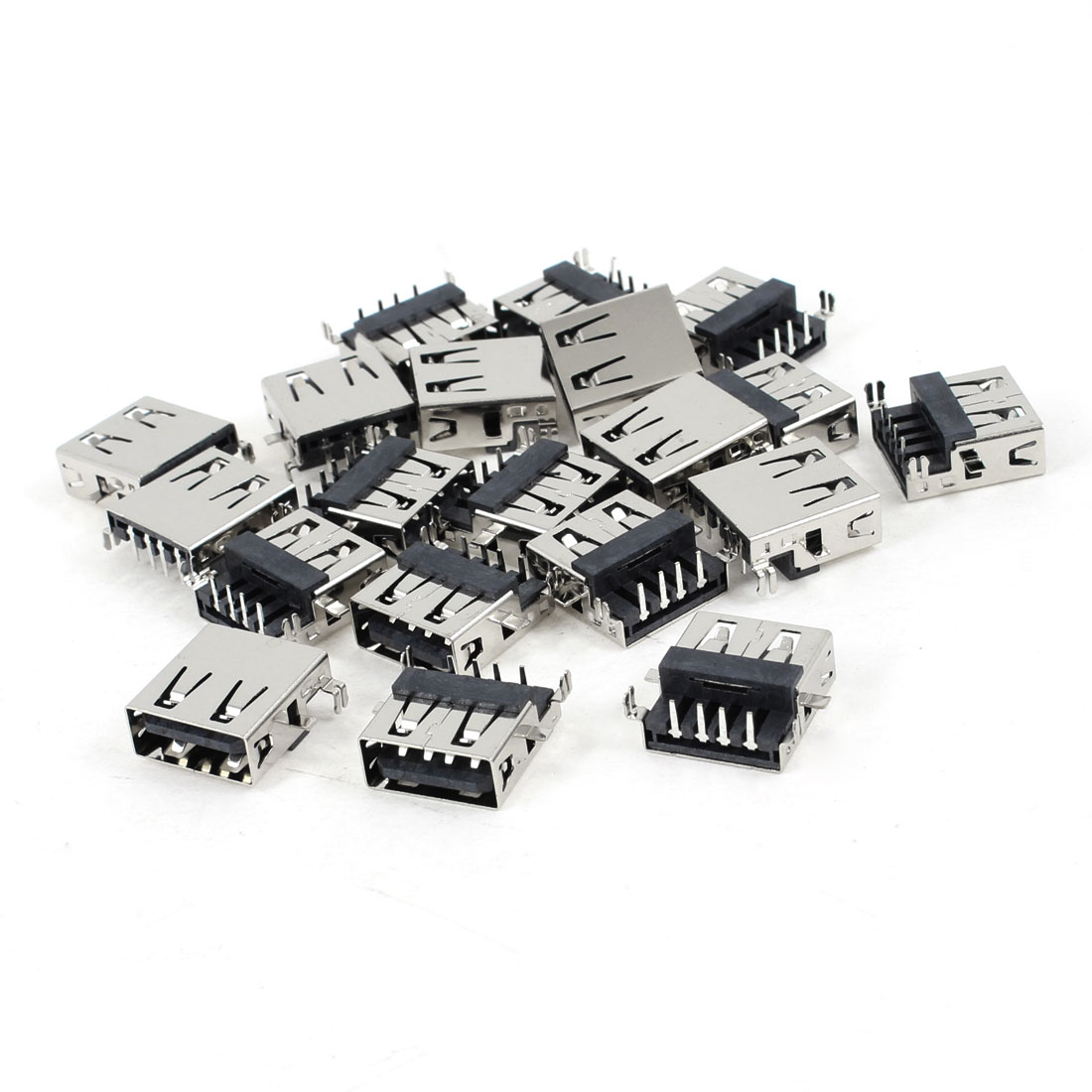 20 Pcs USB 2.0 Type A 90 Degree 4-Pin DIP Female Jack Connector
