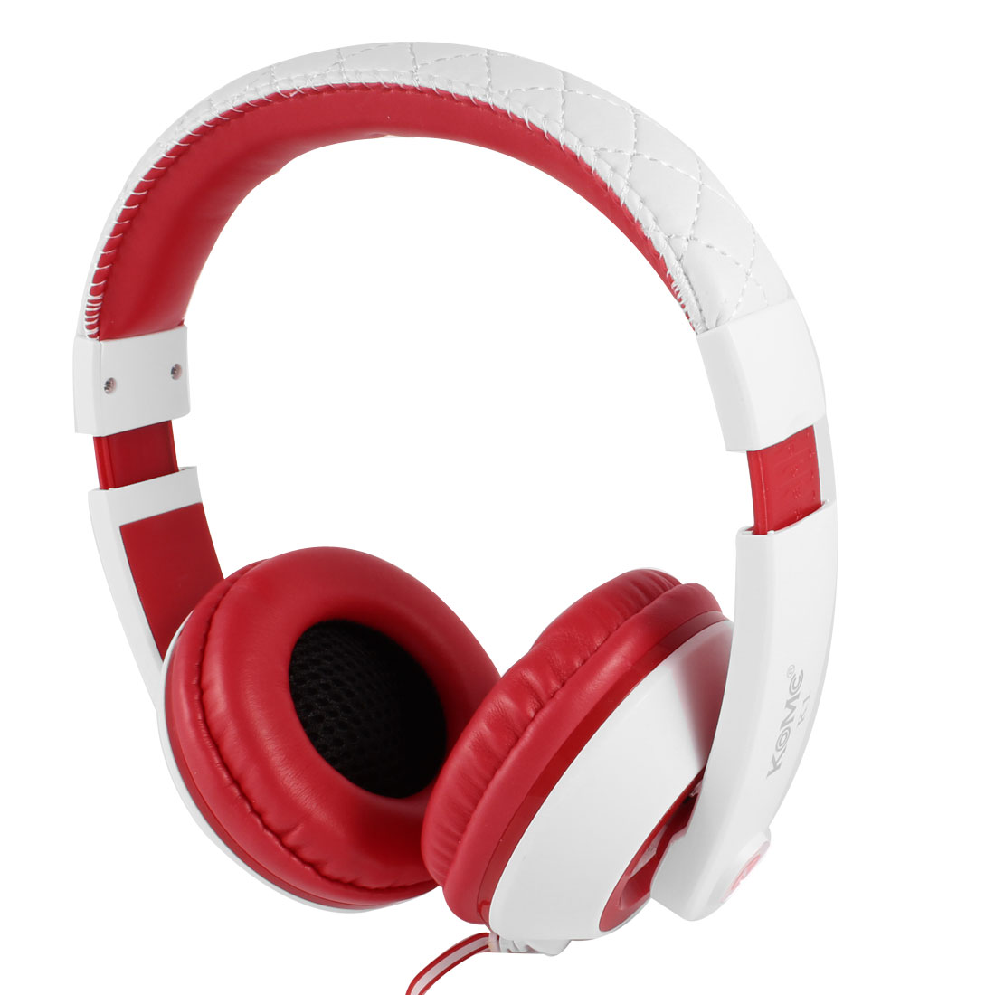4.9ft Flat Cable Red Round Earpad PC Computer Headphone Headset 3.5mm Connector