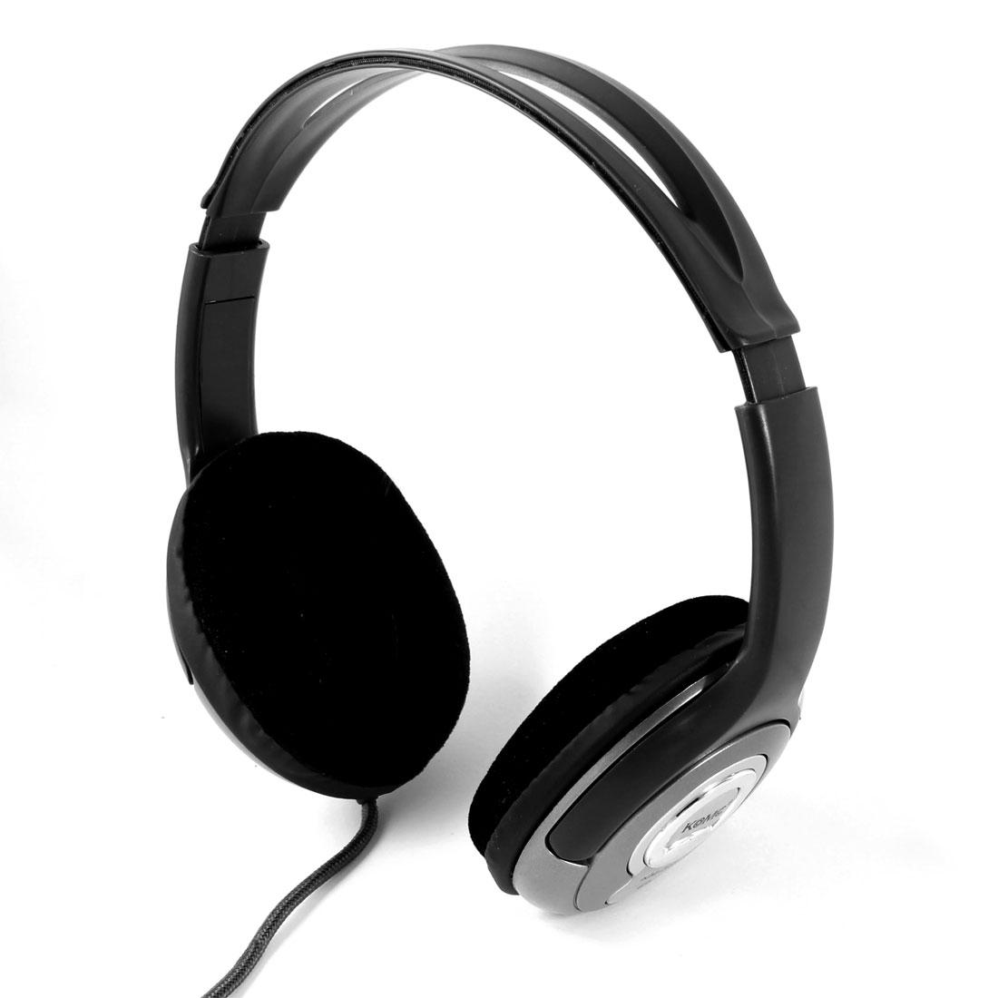 Gray Wide Headband PC Computer Headphone Headset 3.5mm Jack w Microphone