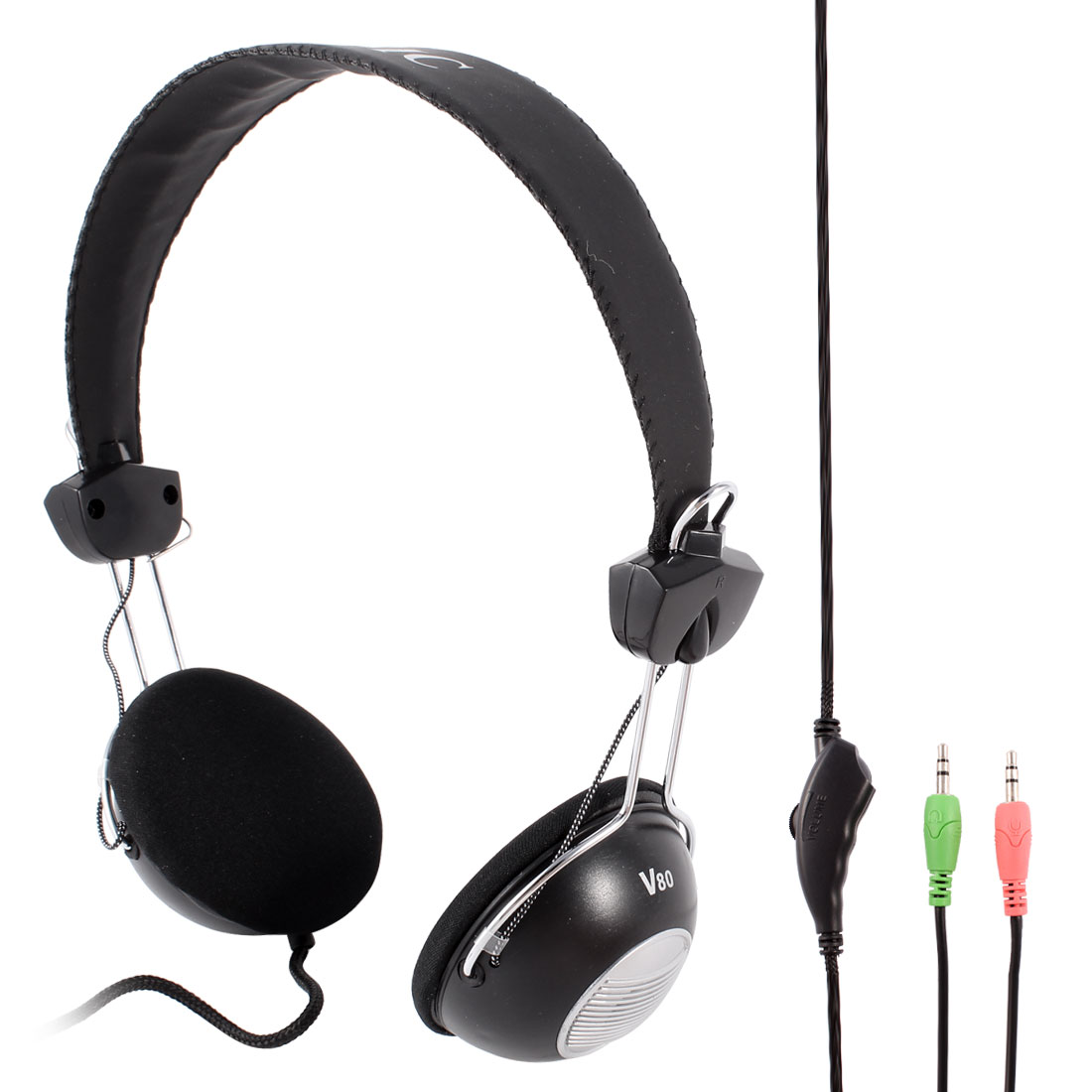 Adjustable Headband PC Computer Headphone Headset 3.5mm Plug w Mircophone