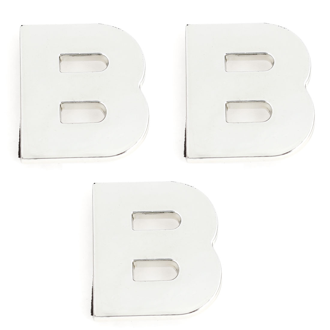 Car Plastic English Letter B Shape Emblem Stickers Decoration Silver Tone 3 Pcs