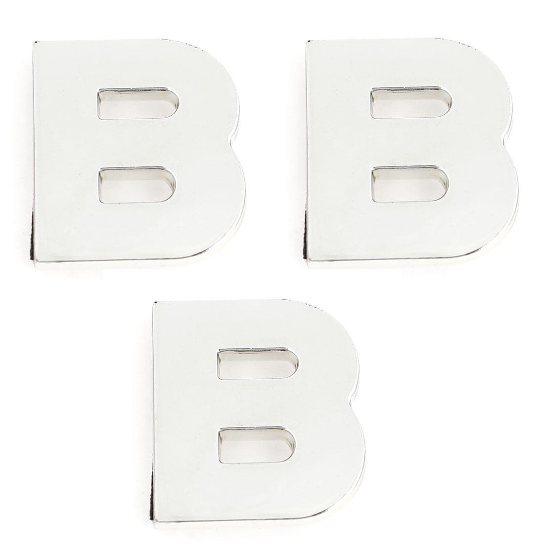 Car Plastic English Letter B Shape Emblem Stickers Decoration Silver Tone 3 Pcs