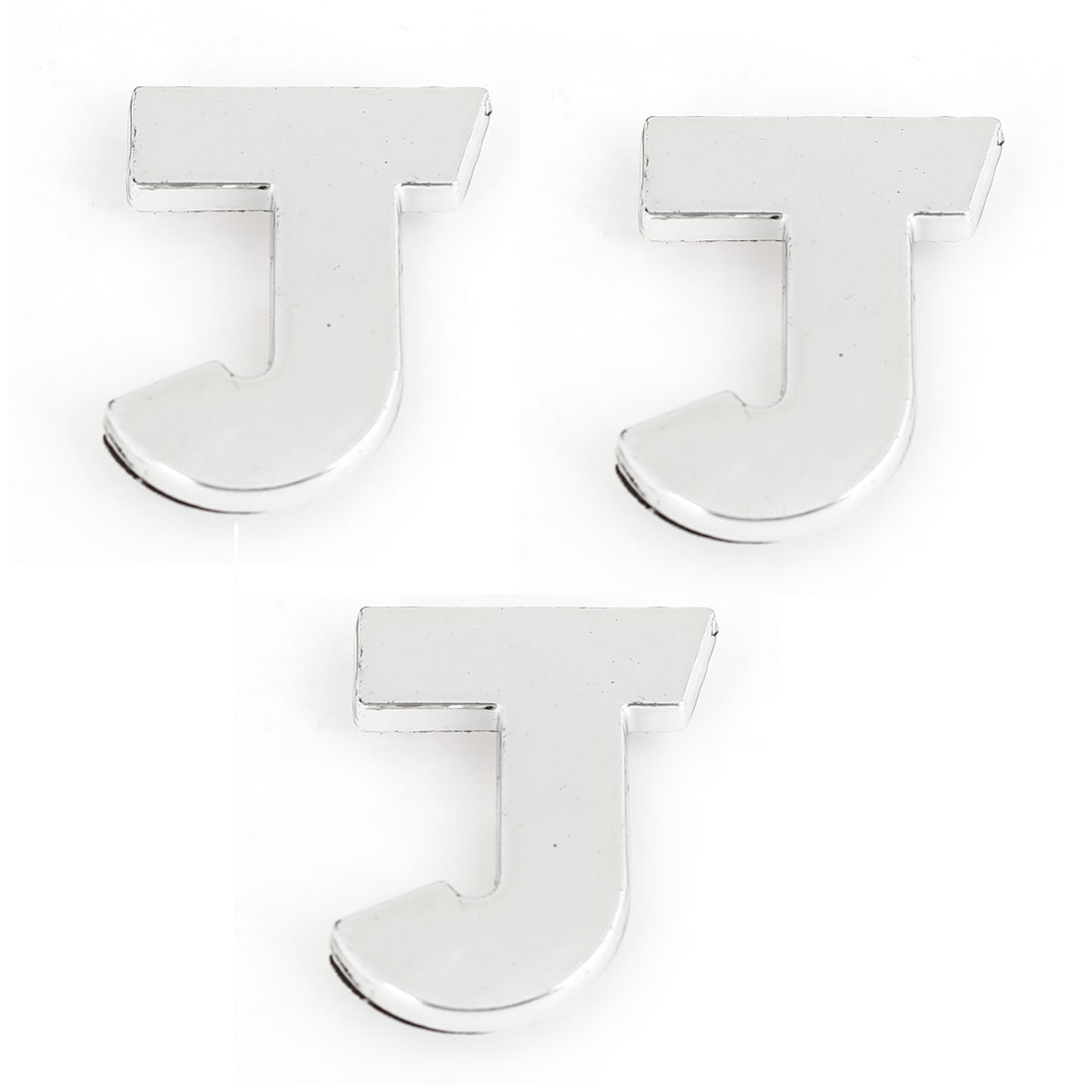 Automobile Car Plastic Letter J Design 3D Emblem Badge Stickers Silver Tone 3PCS
