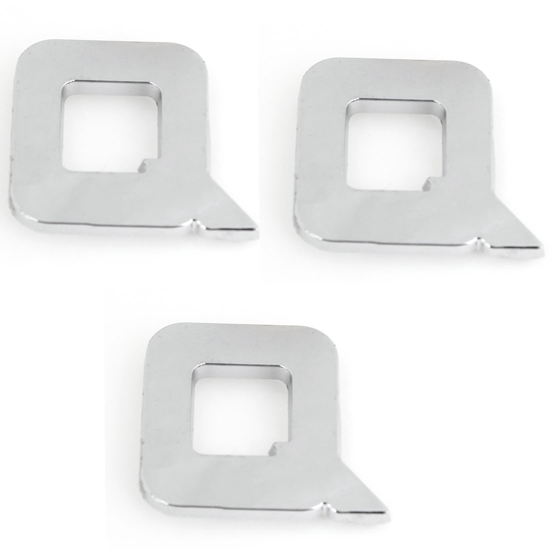 3PCS Self Adhesive Letter Q Shaped Vehicle 3D Emblem Badge Ornament Silver Tone