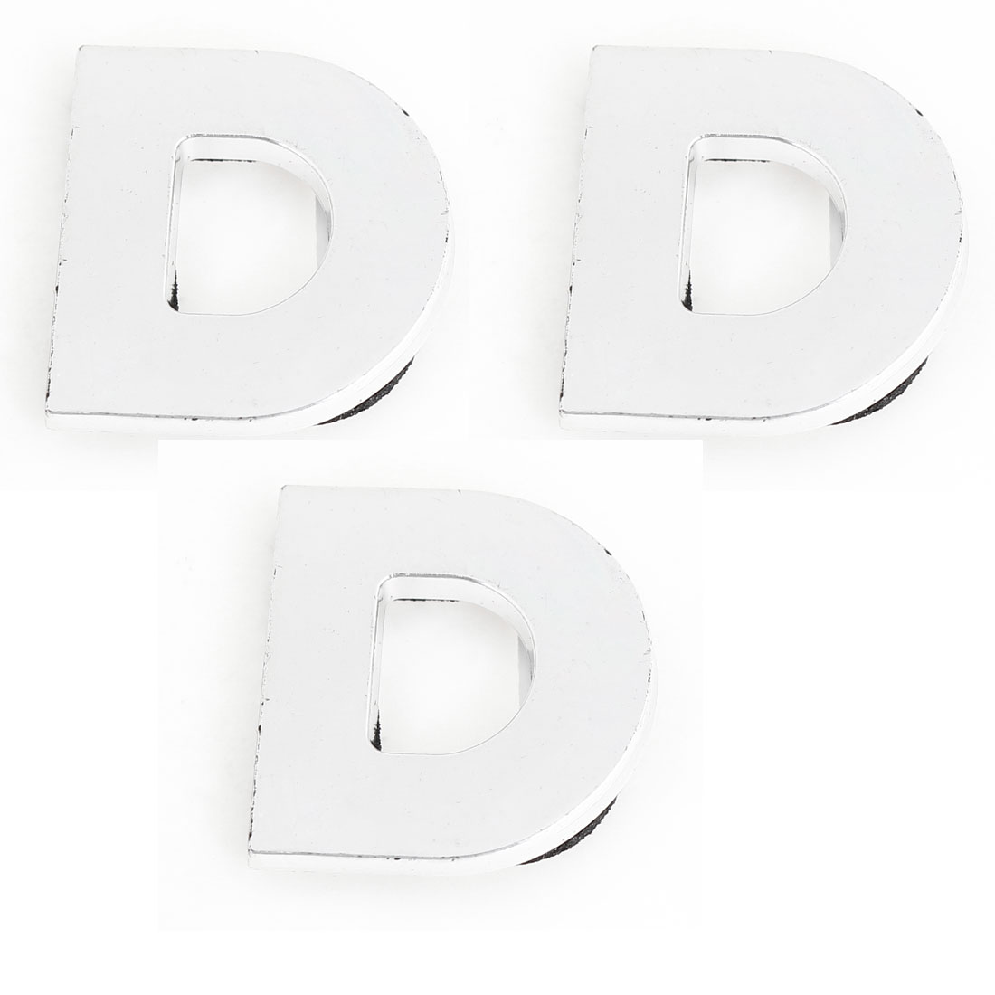 Car Automobile Plastic Letter D Shape Badge Stickers Decor Silver Tone 3 Pcs