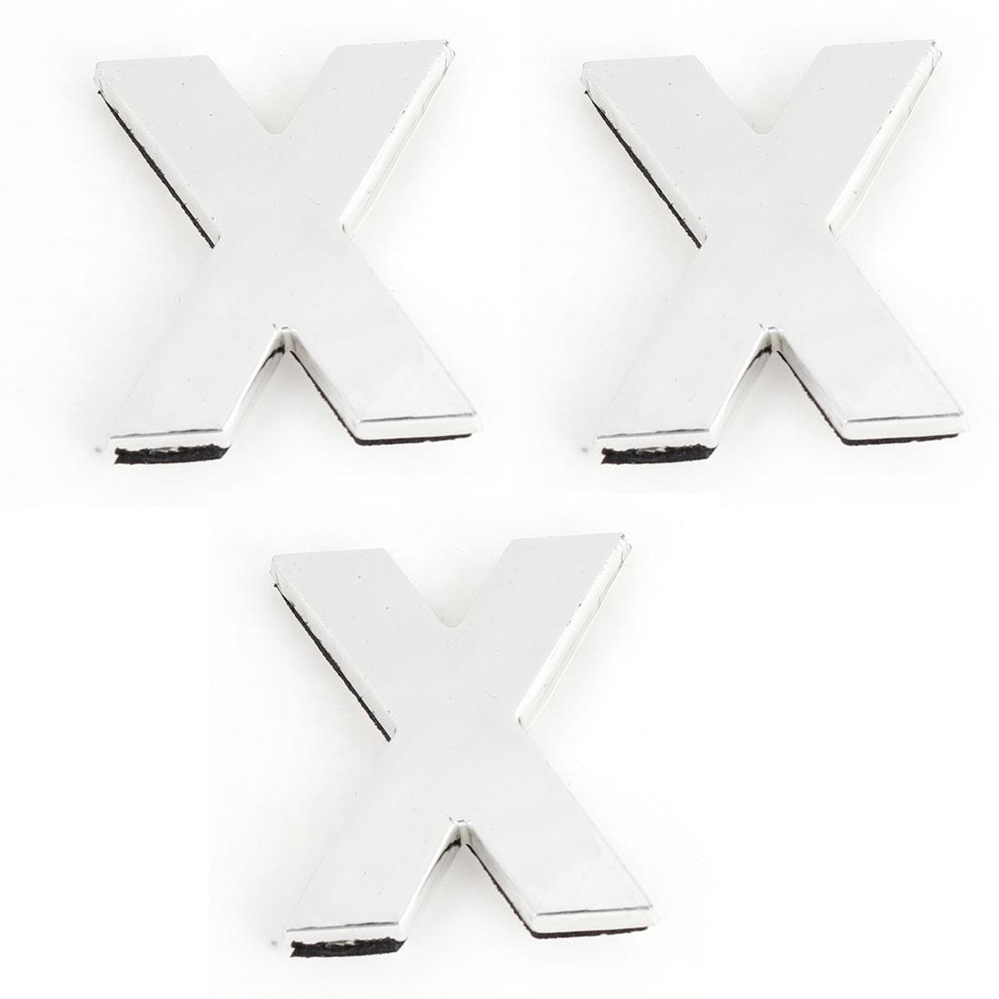 Car Automobile English Letter X Shape 3D Emblem Badge Sticker Silver Tone 3 Pcs