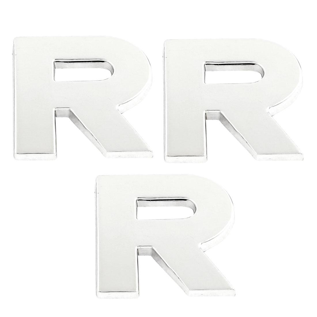 3PCS Self Adhesive Letter R Designed Car 3D Emblem Badge Stickers Silver Tone