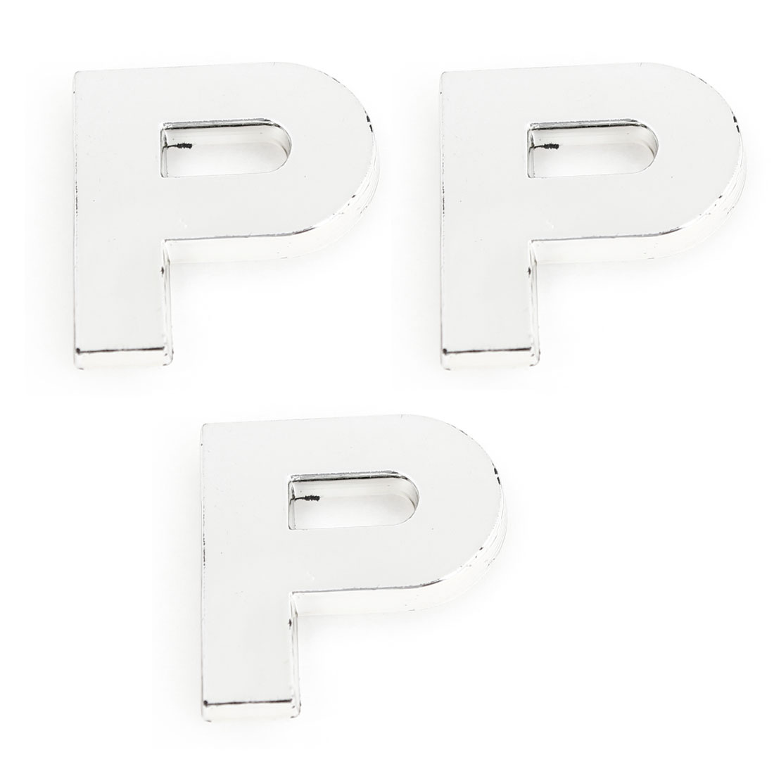 Car Automobile Plastic Letter P Shape Emblem Badge Stickers Silver Tone 3 Pcs