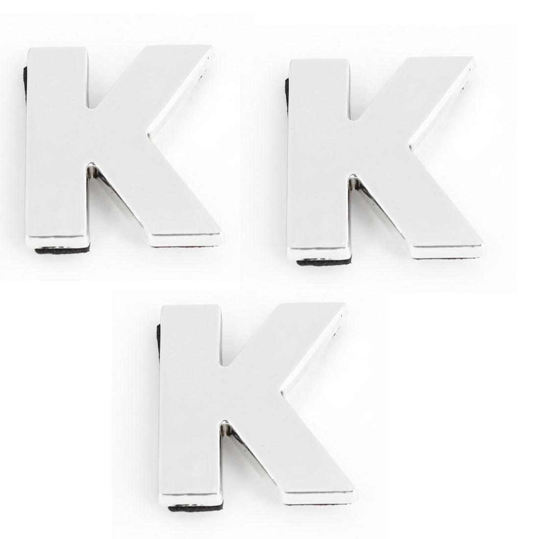 Auto Car Silver Tone Plastic English Letter K 3D Emblem Badge Stickers 3pcs