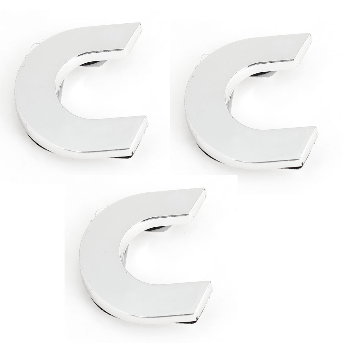 Car Automobile Hood Trunk Letter C 3D Emblem Badge Sticker Silver Tone 3 Pcs