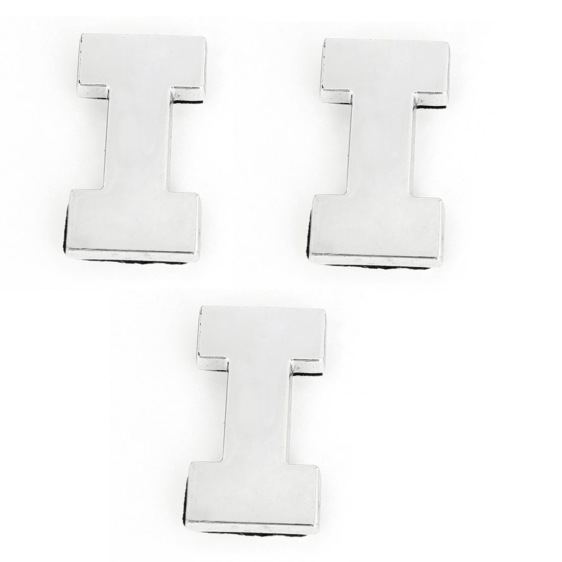 Auto Car Silver Tone Plastic Letter I Design Emblem Badge Sticker Decor 3pcs