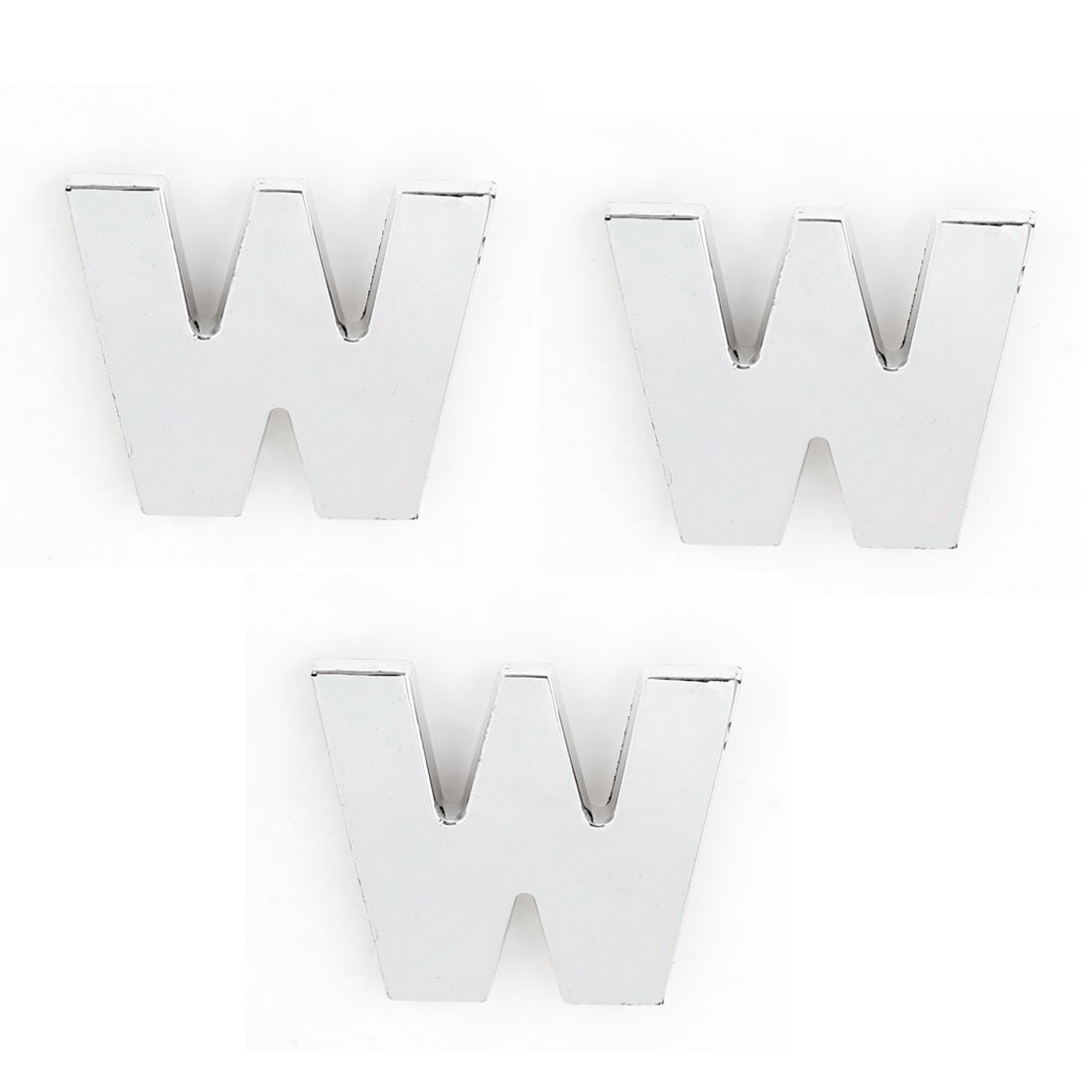 3PCS Adhesive English Letter W Shaped 3D Stickers Ornament Silver Tone for Auto