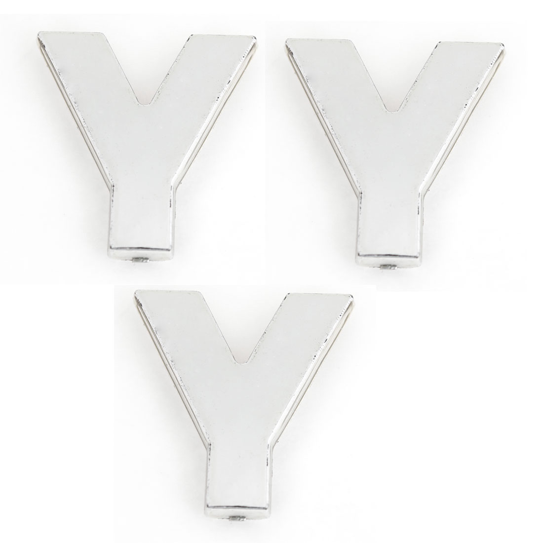3PCS Self Adhesive Letter Y Car Vehicle 3D Emblem Badge Ornament Silver Tone
