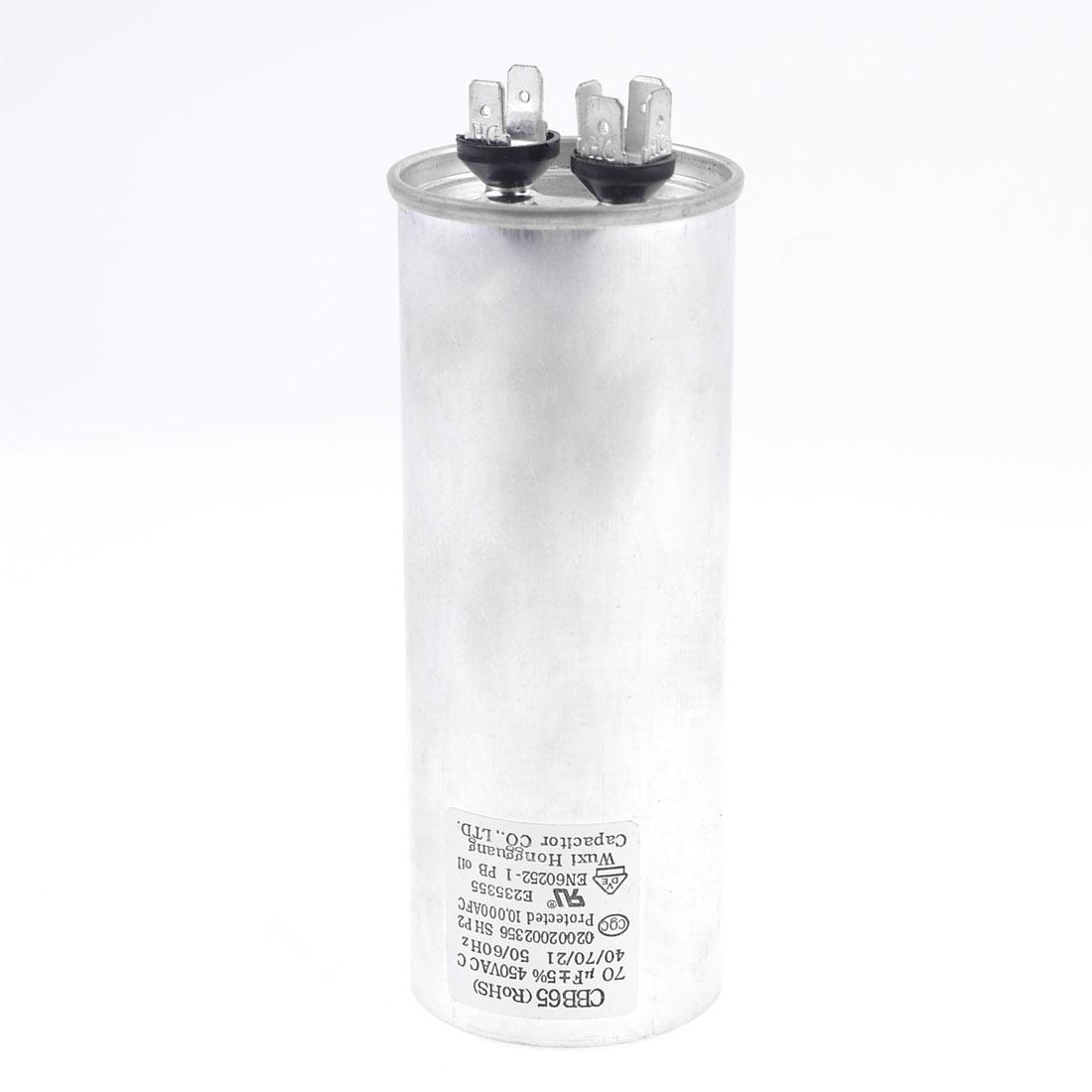 CBB65 Polypropylene Film Lug Terminals Motor Capacitor 450VAC 70uF 5%