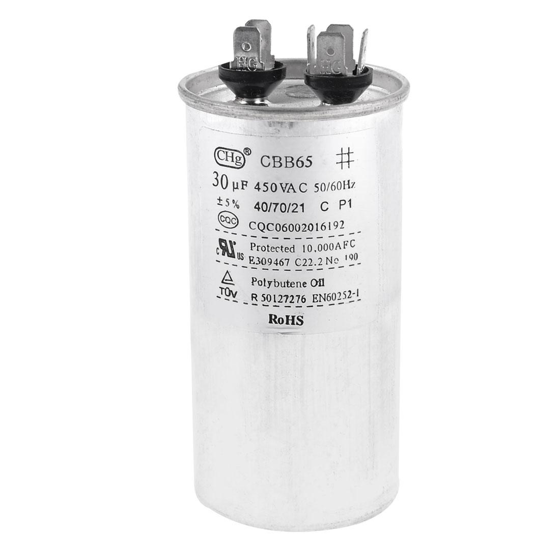 450VAC 30uF Cylindrical Refrigerator Motor Running Capacitor CBB65