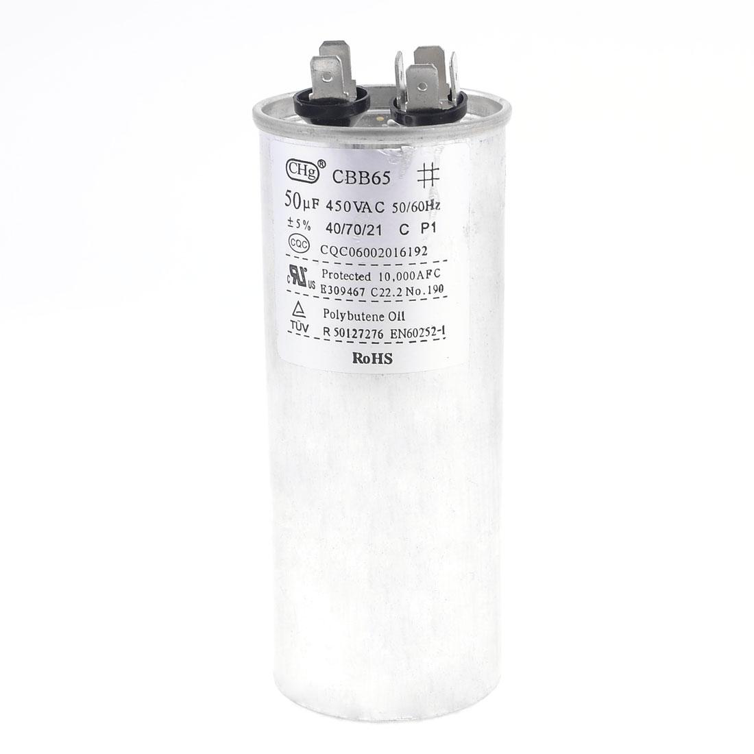 CBB65 Polypropylene Film Lug Terminals Motor Capacitor 450VAC 50uF 5%