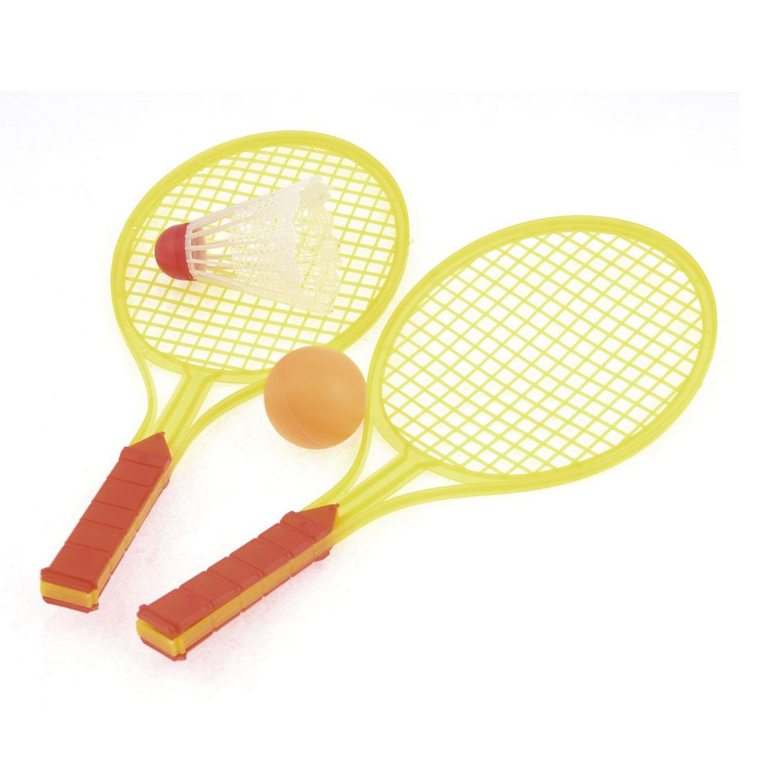 2pcs Yellow Badminton Racket w White Ball Plastic Toy for Children