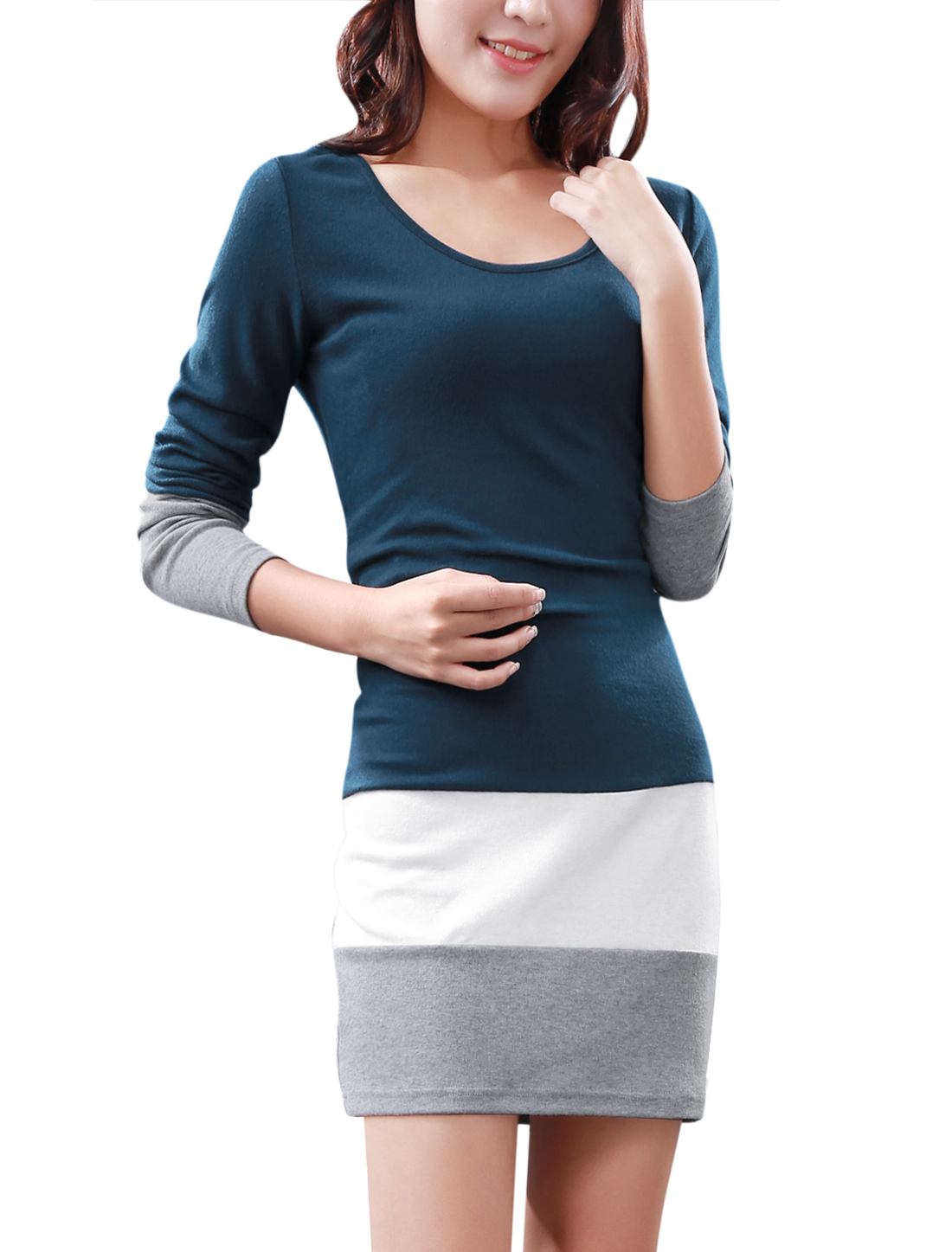 Ladies Scoop Neck Splice Long Sleeve Design Navy Blue Tunic Dress M