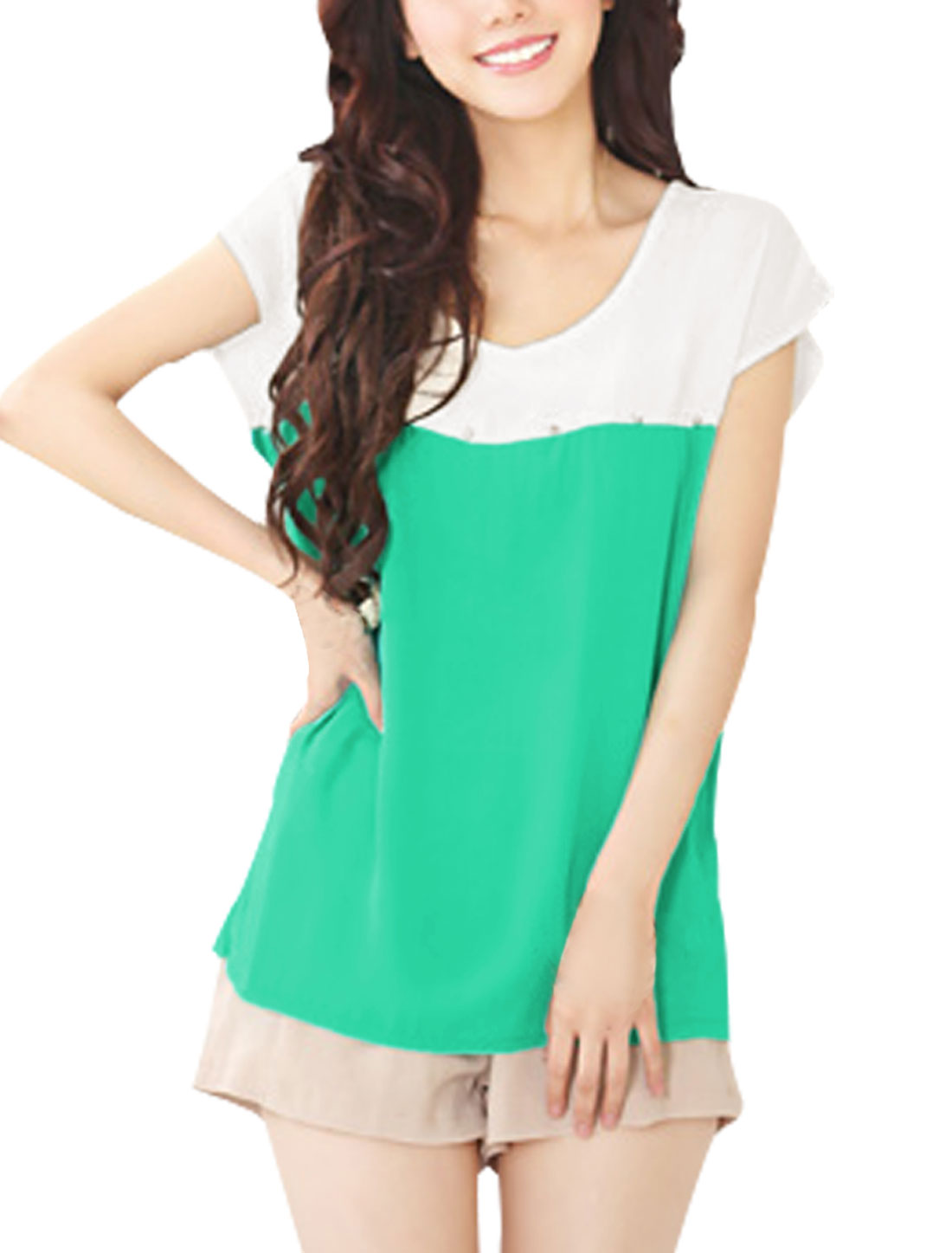 Ladies Round Neck Short Dolman Sleeve Light Green White Blouse XS