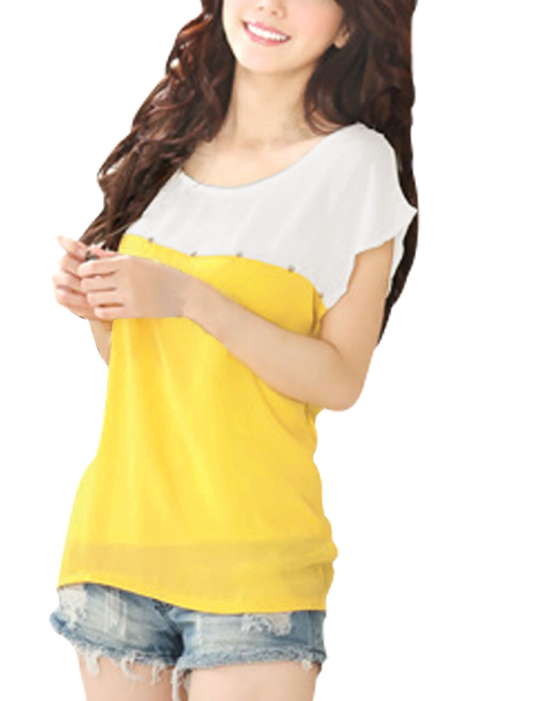 Women Chic Round Neck Short Dolman Sleeve Yellow White Blouse XL