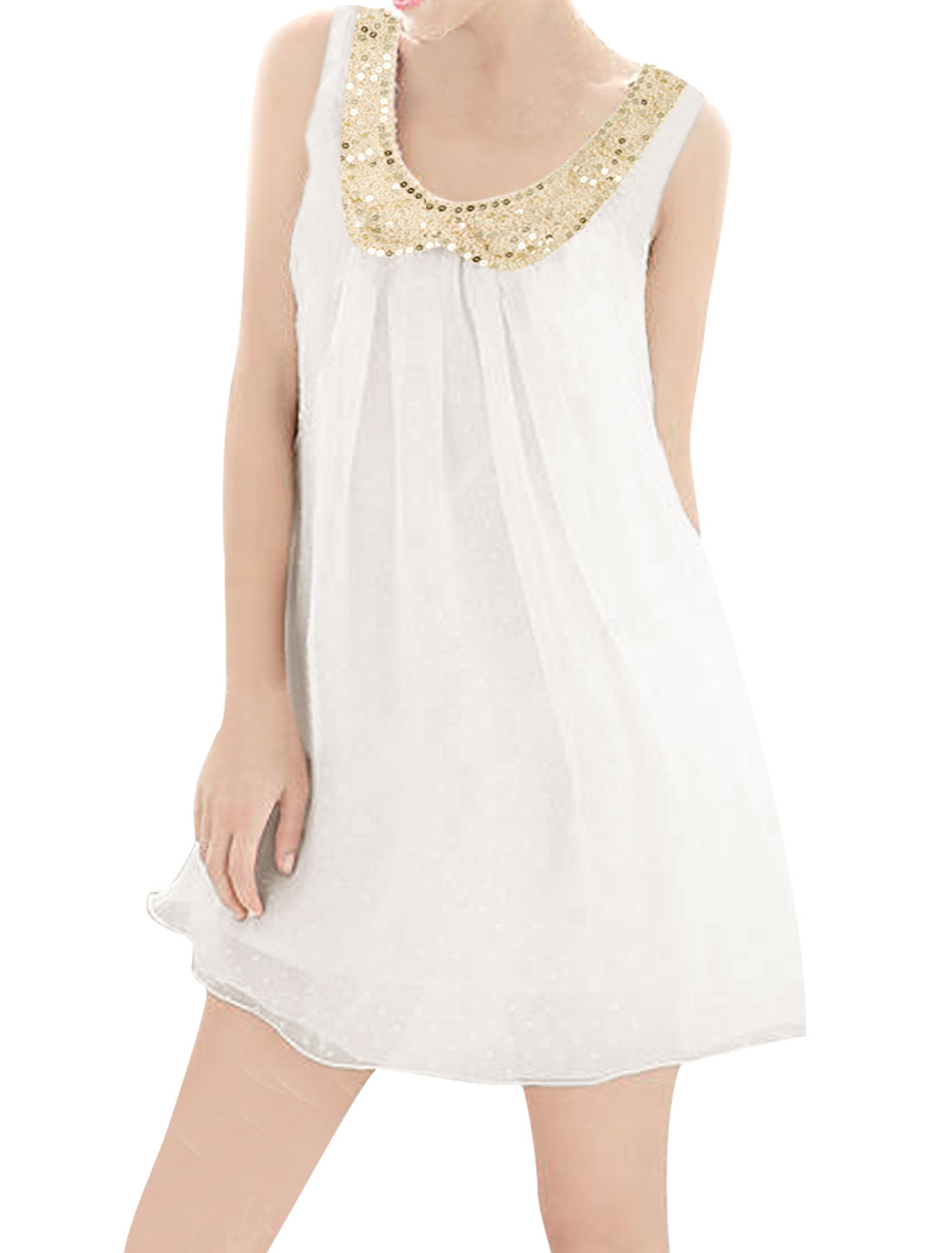 Lady Sequined Decor Peter Pan Collar White Mini Tank Dress M