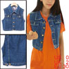 Women Point Collar Button Up Sleeveless Denim Vest Dark Blue XS