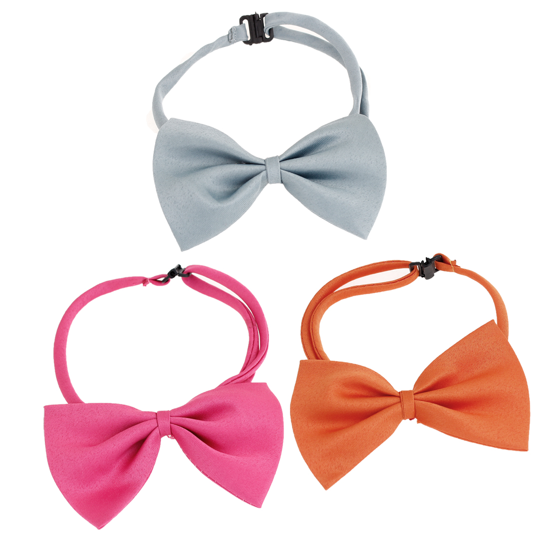 3 Pcs Fuchsia Orange Gray Adjustable Dog Pet Puppy Grooming Necktie Bowtie