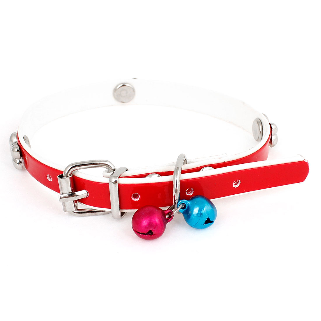 Faux Leather Belt Jingle Bell Bone Decor Cat Dog Doggy Puppy Collar Red