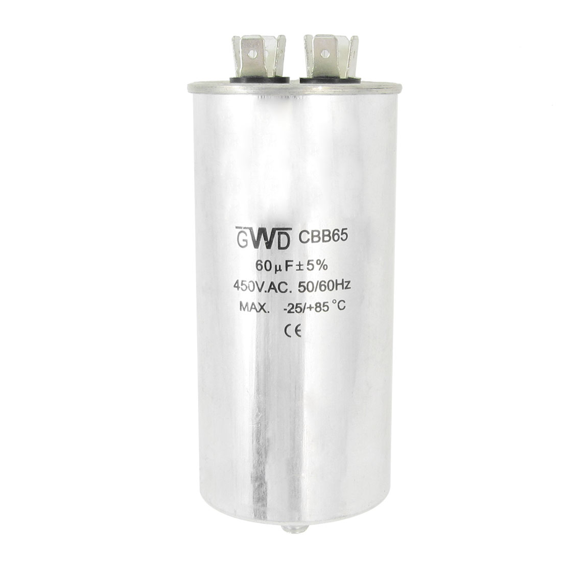 CBB65 AC 450V 50/60Hz 60uF 8mm Thread Polypropylene Film Cylinder Capacitor