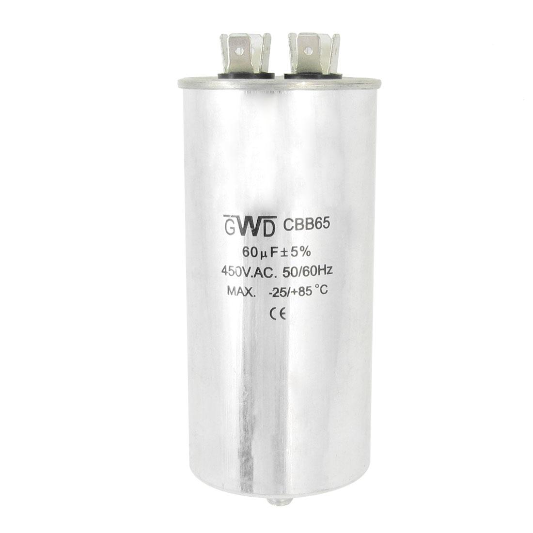 CBB65 AC 450V 50/60Hz 60uF 8mm Thread Polypropylene Film Cylinder Capacitor