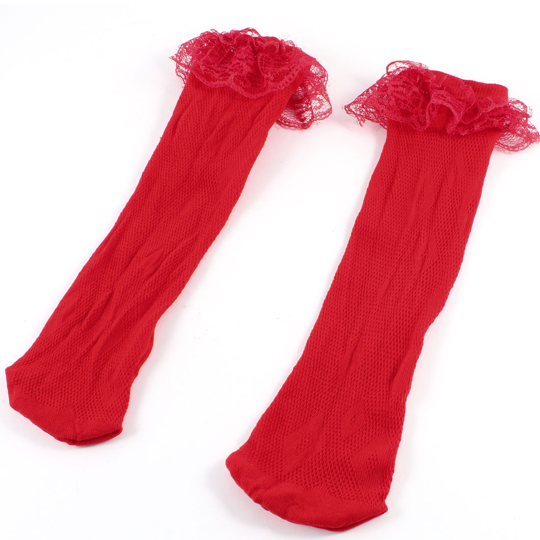 Red Lace Trims Ornament Stretchy Hosiery Ankle Socks for Girls