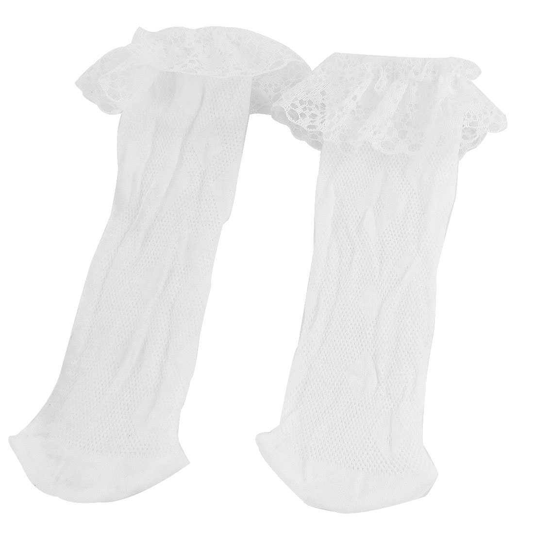 White Lace Trims Ornament Stretchy Hosiery Ankle Socks for Girls