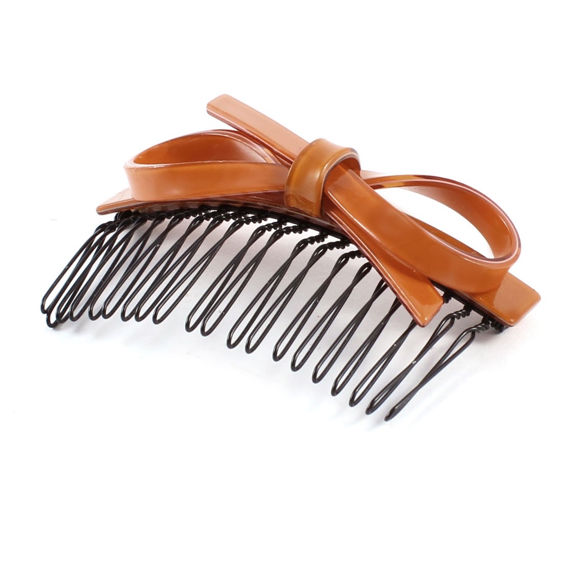 Orange Bow Decor Metal Teeth Hair Comb Clip for Woman Ladies