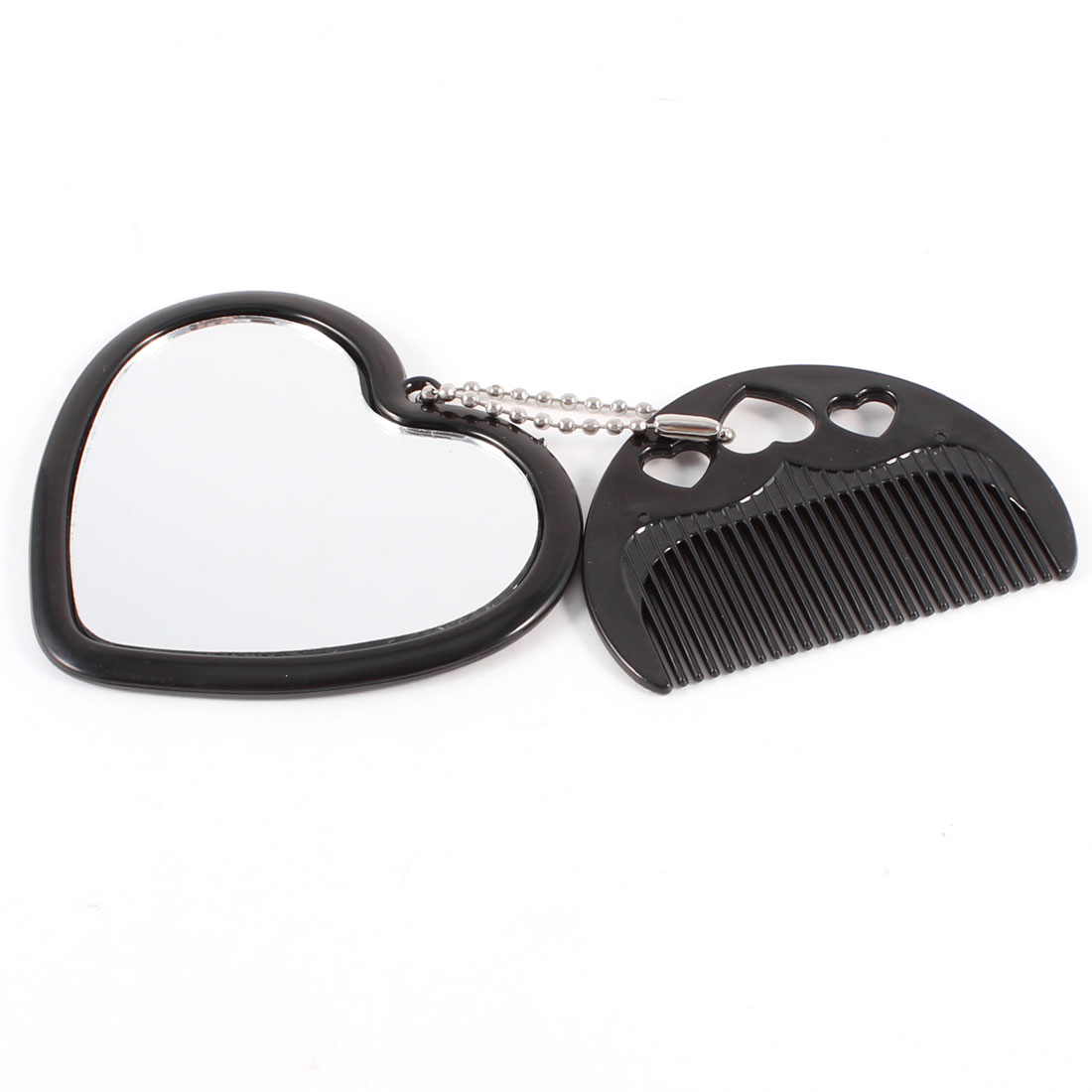 Black Heart Shape Cute Sheep Print Cosmetic Mirror w Comb for Woman