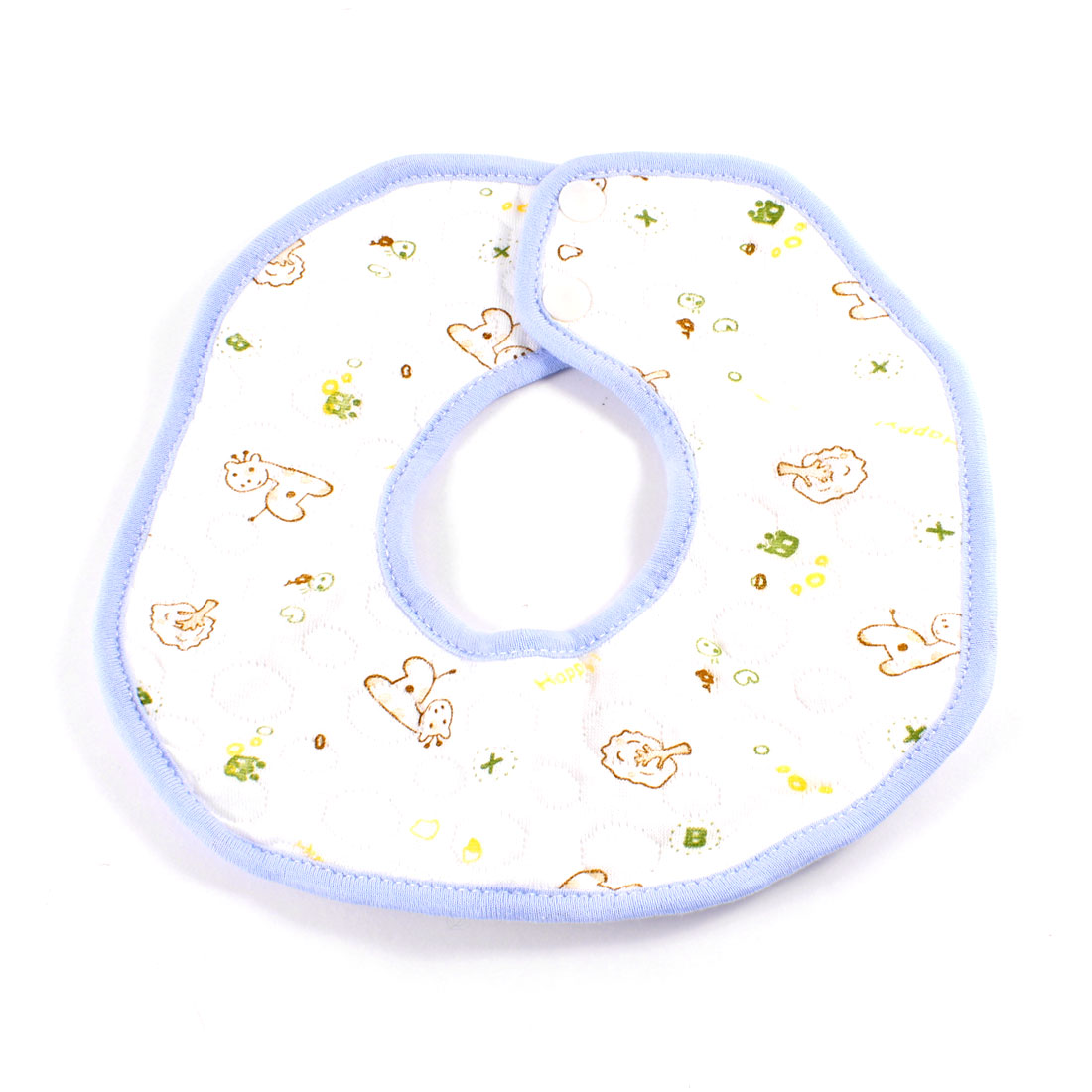 Coffee Color Animal Pattern Baby Infant Bib Saliva Towel White Blue