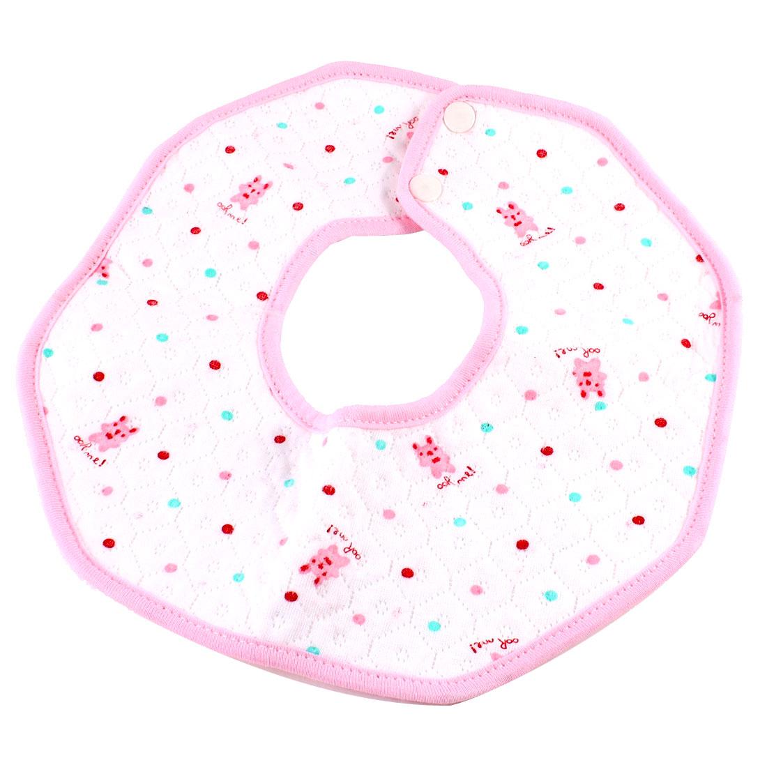 White Pink Cartoon Bear Dot Pattern Baby Bib Soft Saliva Towel