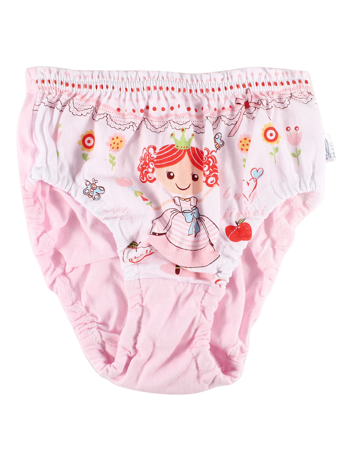 Floral Pattern Elastic Waist Lovely Briefs Pink for Girl US 2T