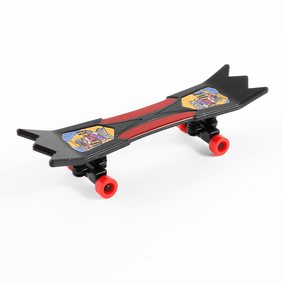 Cartoon character Printed Plastic Finger Skateboard Toy Black Carmine for Child